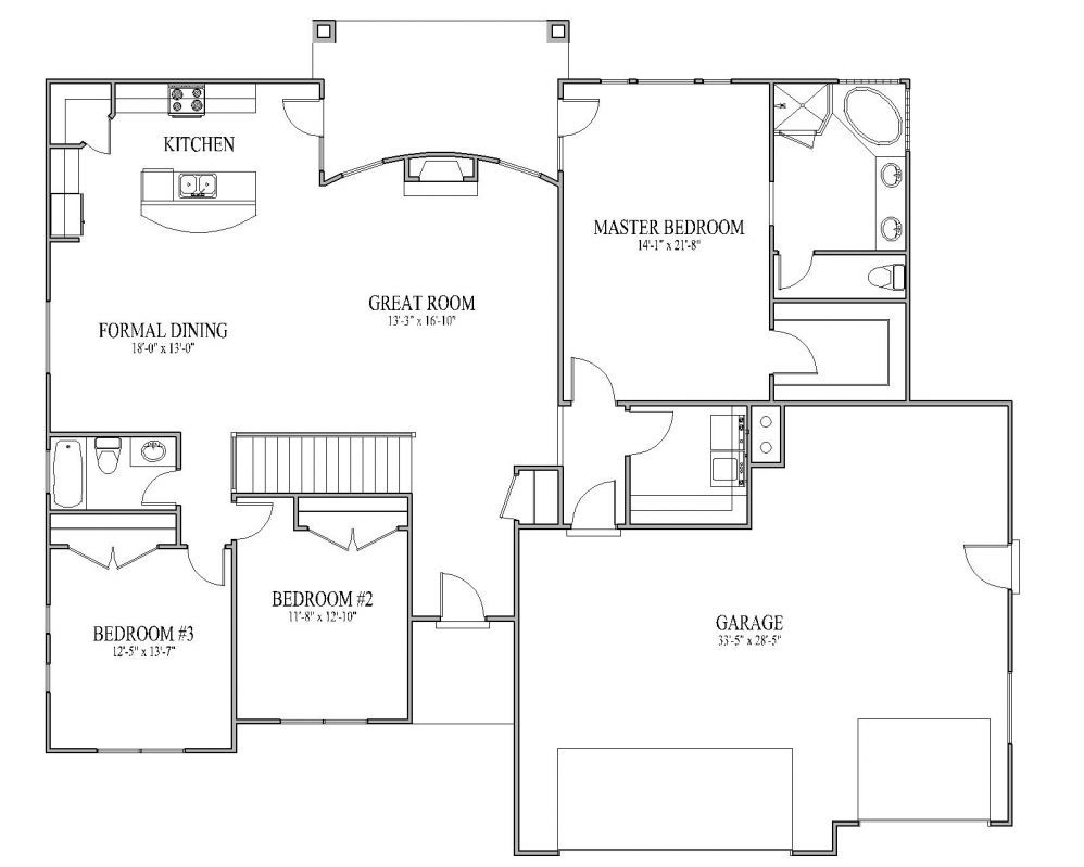 Open floor plans open floor plans patio home plan for Bathroom house plans