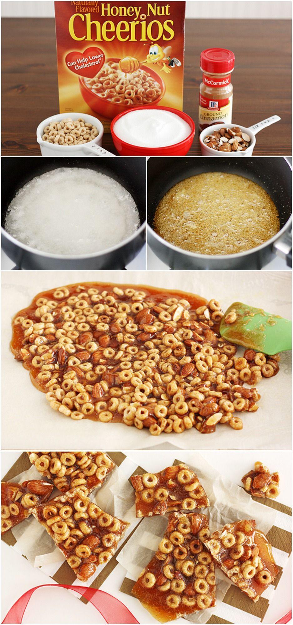 Honey Nut Cheerios Cinnamon Brittle Recipe Cheerios Recipes Cereal Treats Cheerios Snacks