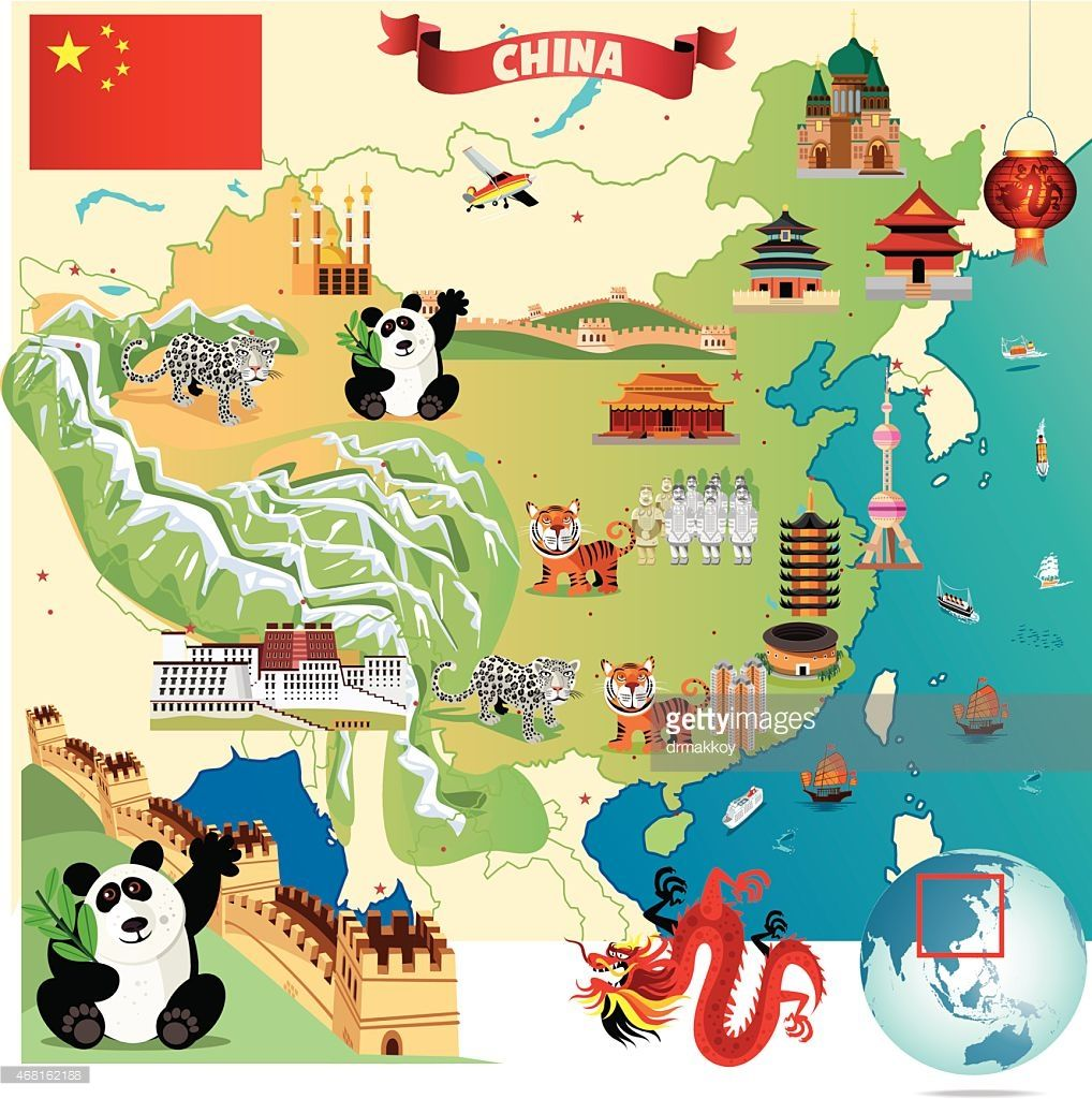 carte muraille de chine Cartoon map of China (avec images) | Grande muraille de chine