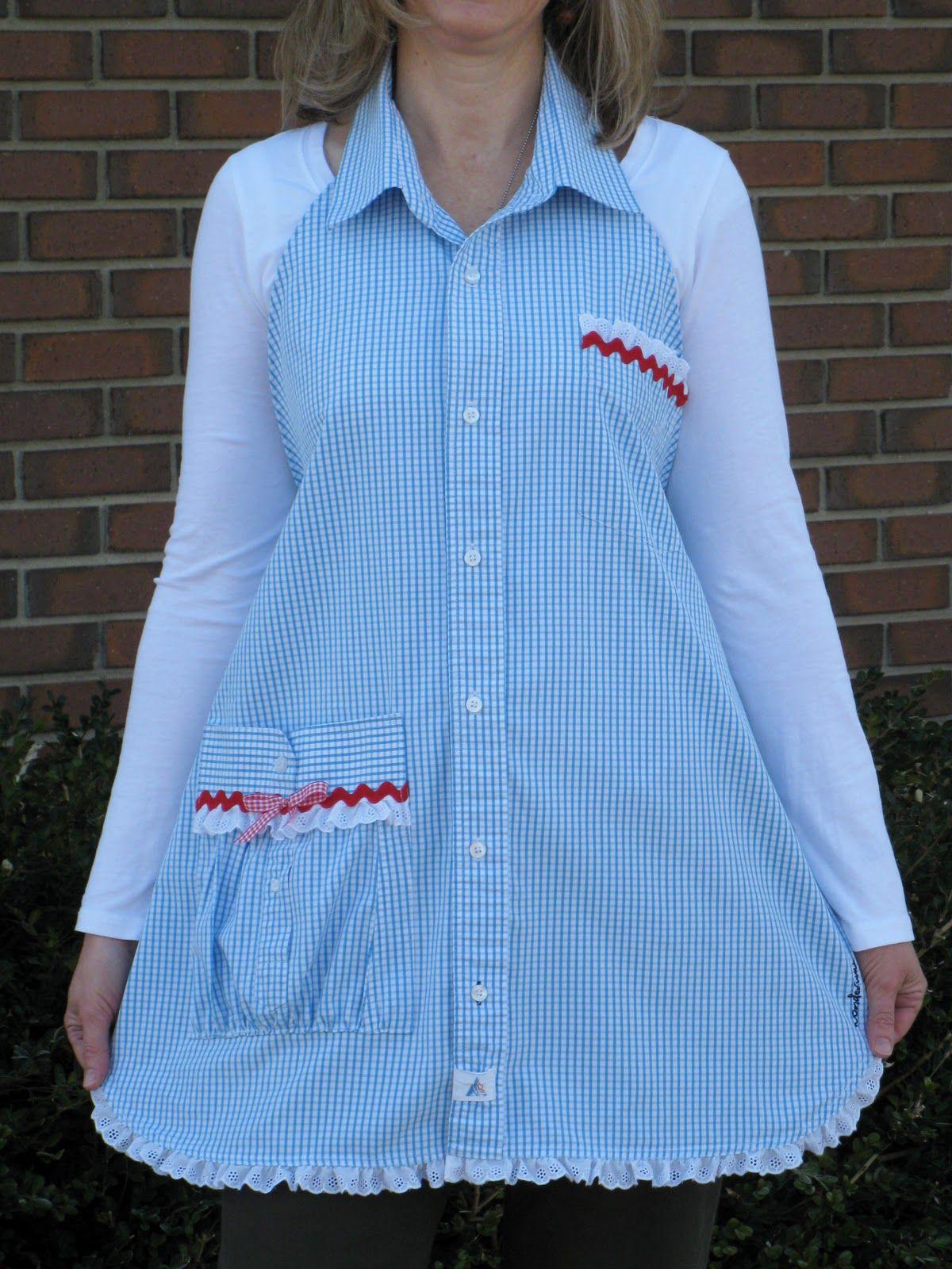 Flannel shirt apron  Mens Shirt Apron Easy DIY Video Instructions Cute Ideas  Apron