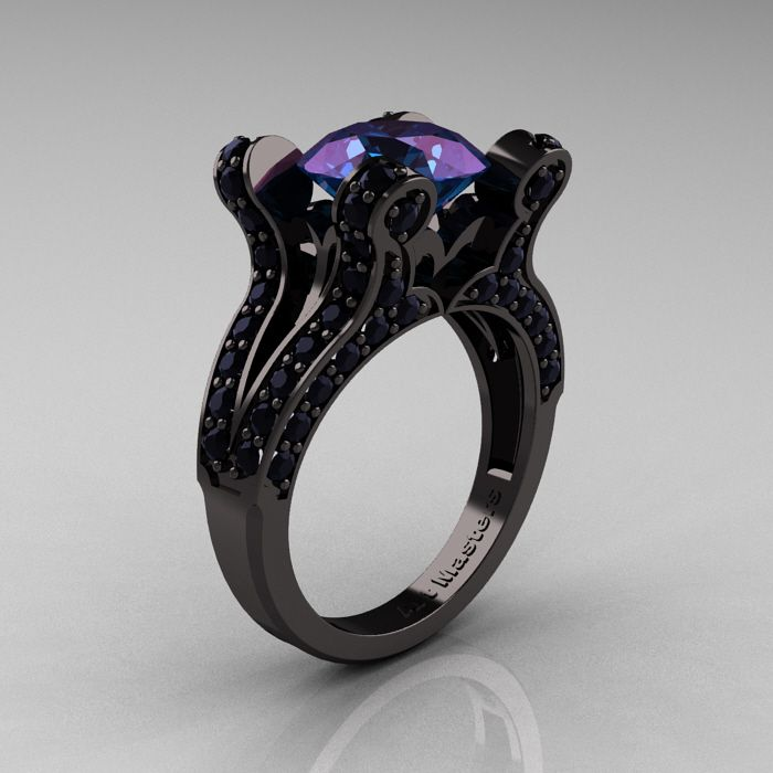 Images of Black and Gold Wedding Ring Black Diamond - See more amazing jewelry at GlamJewelry.org!