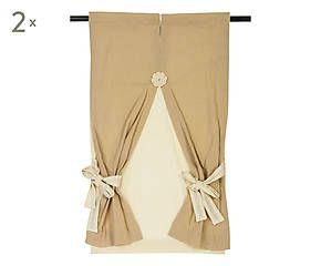 Coppia di tende in cotone ecru' Sabry - 60x145 cm