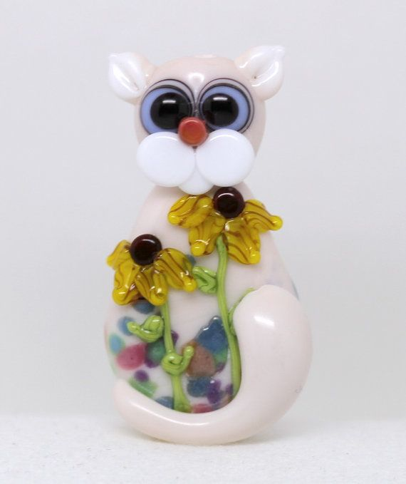 Made to order Margo lampwork beads floral cat by margolampwork