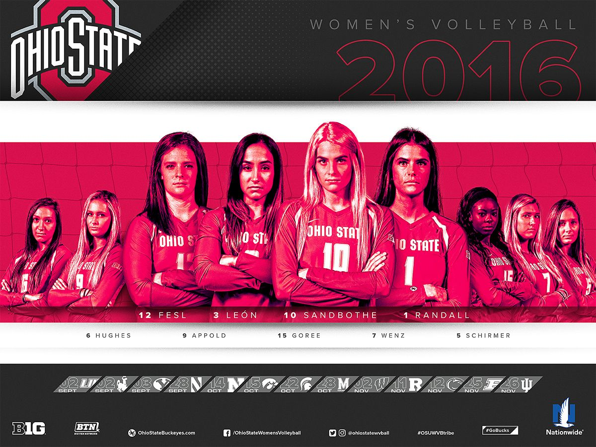 Ohio State Women S Volleyball 2016 Schedule Poster On Behance Women Volleyball Ohio State College Sports Graphics