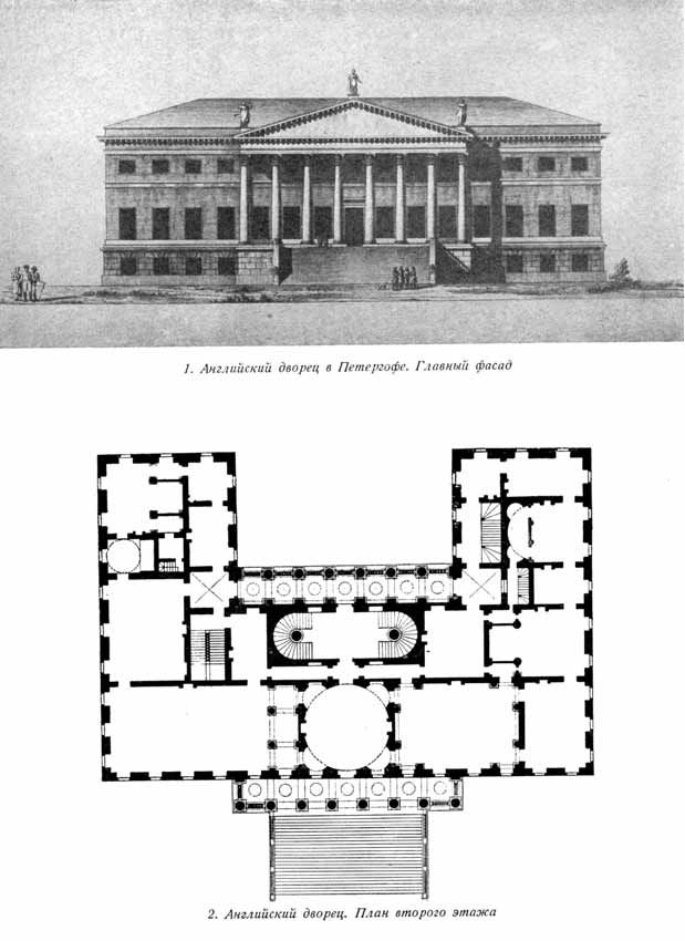 A View Of The Facade And I Think The Ground Floor Plan Of The English Palace At Peterhof Russia Be Architectural Floor Plans Vintage House Plans Architecture