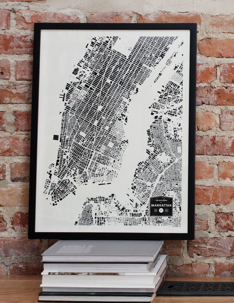 manhattan new york city nyc city map print ny buildings architecture urban planning screenprint wall art for framing by cityfabric