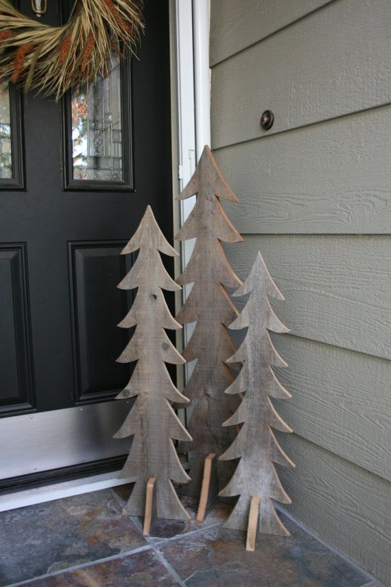 Rustic Wooden Trees, Set of Three, Handmade from Reclaimed Wood ...