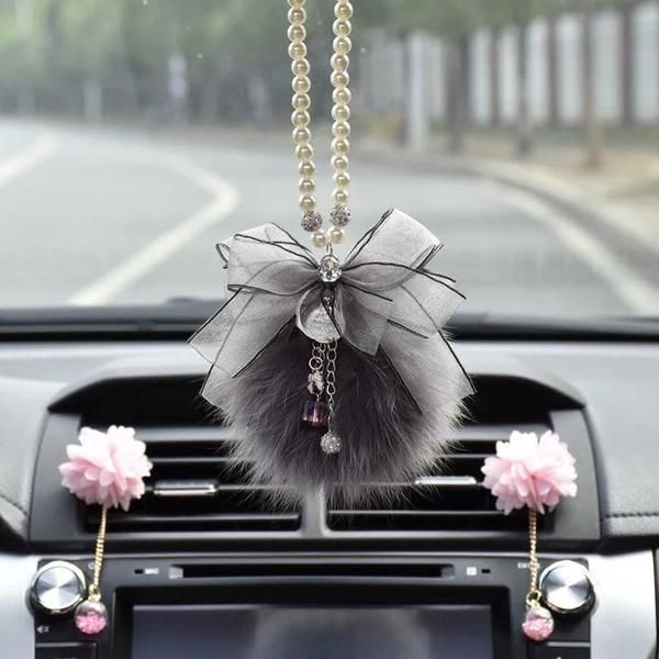 Car Mirror Charm Bling Crystal Pendant And Fur Ball Rear View