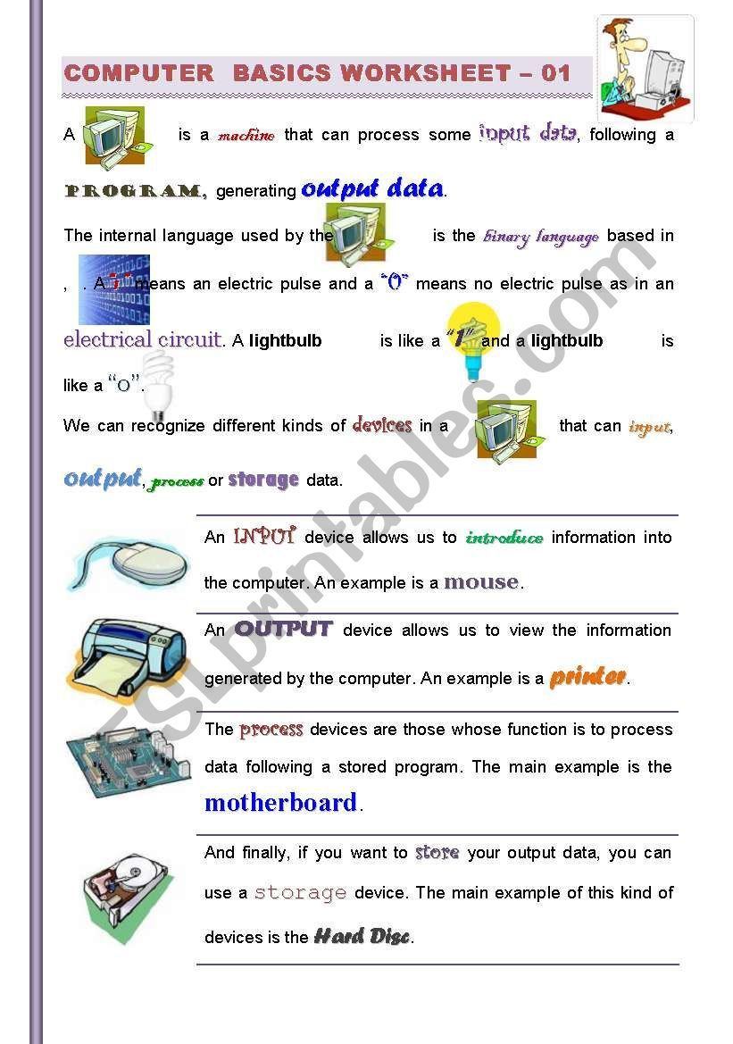This Worksheet Has Been Prepared To Get Students Familiarized With Computers It Was Designed To Be Used I Computer Basics Technology Lesson Technology Lessons [ 1169 x 821 Pixel ]