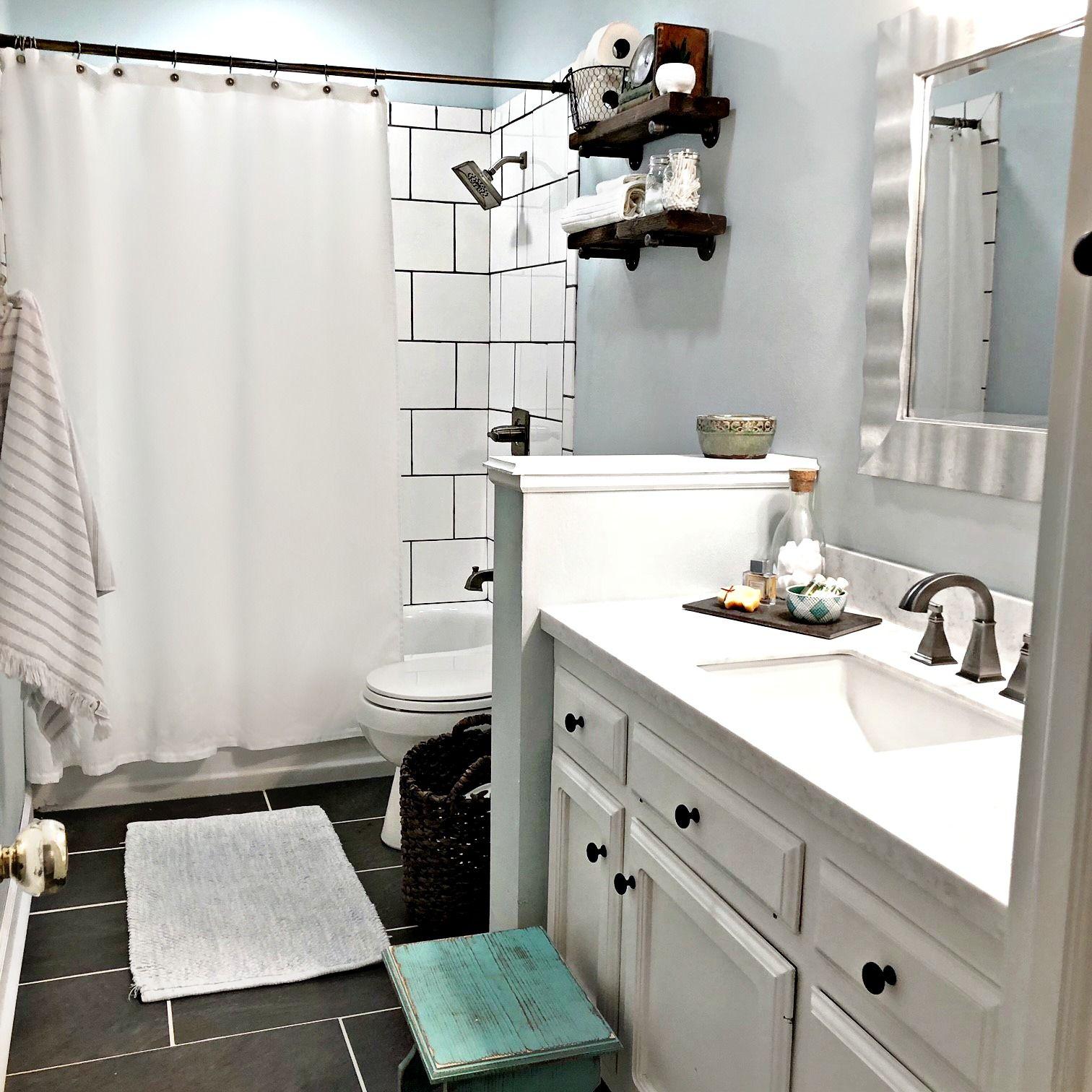 Industrial Bathroom Shelf Farmhouse Style Guest Bathroom Long Bathroom Large White Su Industrial Style Bathroom Amazing Bathrooms Industrial Bathroom Design