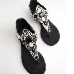 Fashionable Beading Flip-Flop Women's Summer Sandals