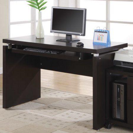 Monarch Cappuccino 48 In Computer Desk Walmart Com In 2020 Wood Computer Desk Desk With Keyboard Tray Computer Desk