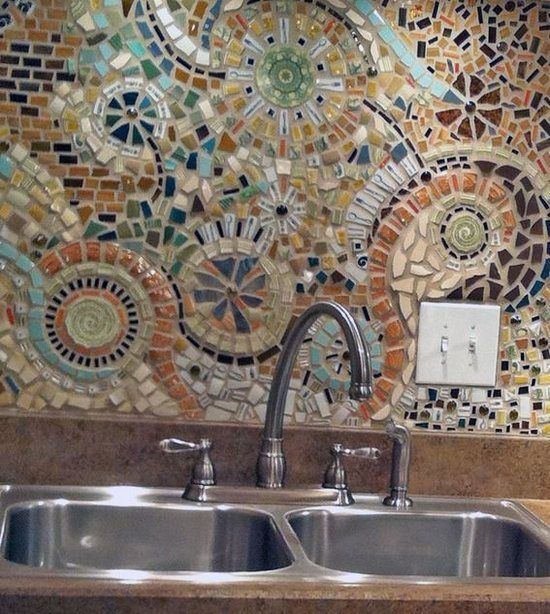 Colorful Mosaic Tile Backsplash Idea Modern Kitchen Design Brown Countertops