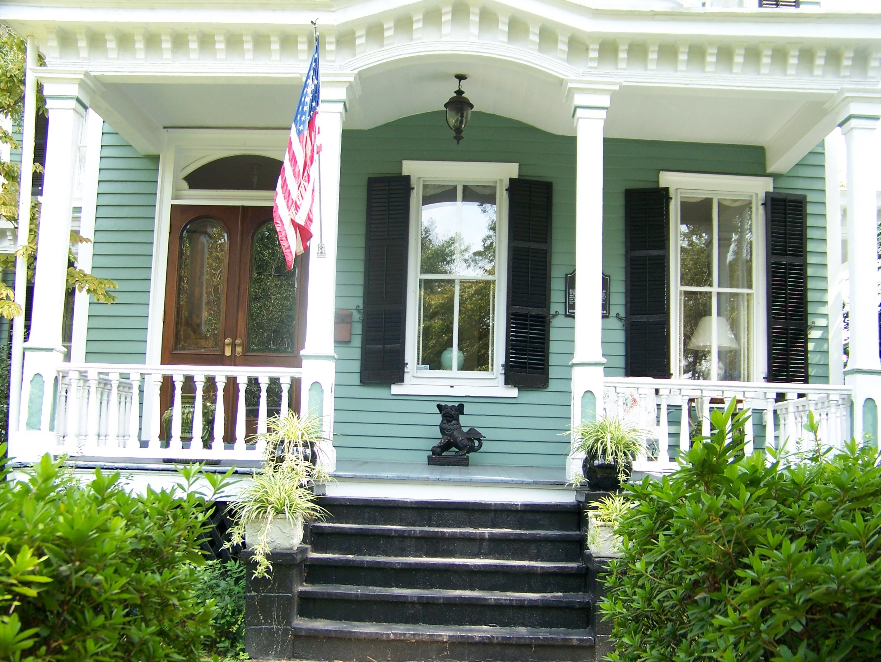 Green Outdoor Paint Part - 45: Green + White + Black Trim