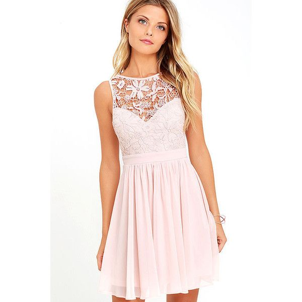 Jolly Song Blush Lace Skater Dress ($59) ❤ liked on Polyvore featuring dresses, pink, lulu's dresses, skater skirt dress, skater skirts, pink skater skirt and pink skater dress