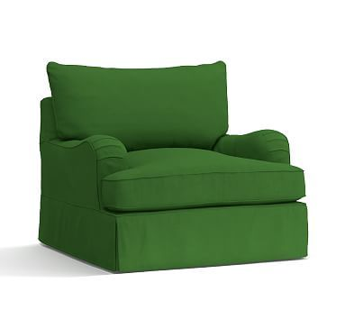 PB Comfort English Arm Swivel Armchair Slipcover, Knife Edge, Linen Blend Grass Green