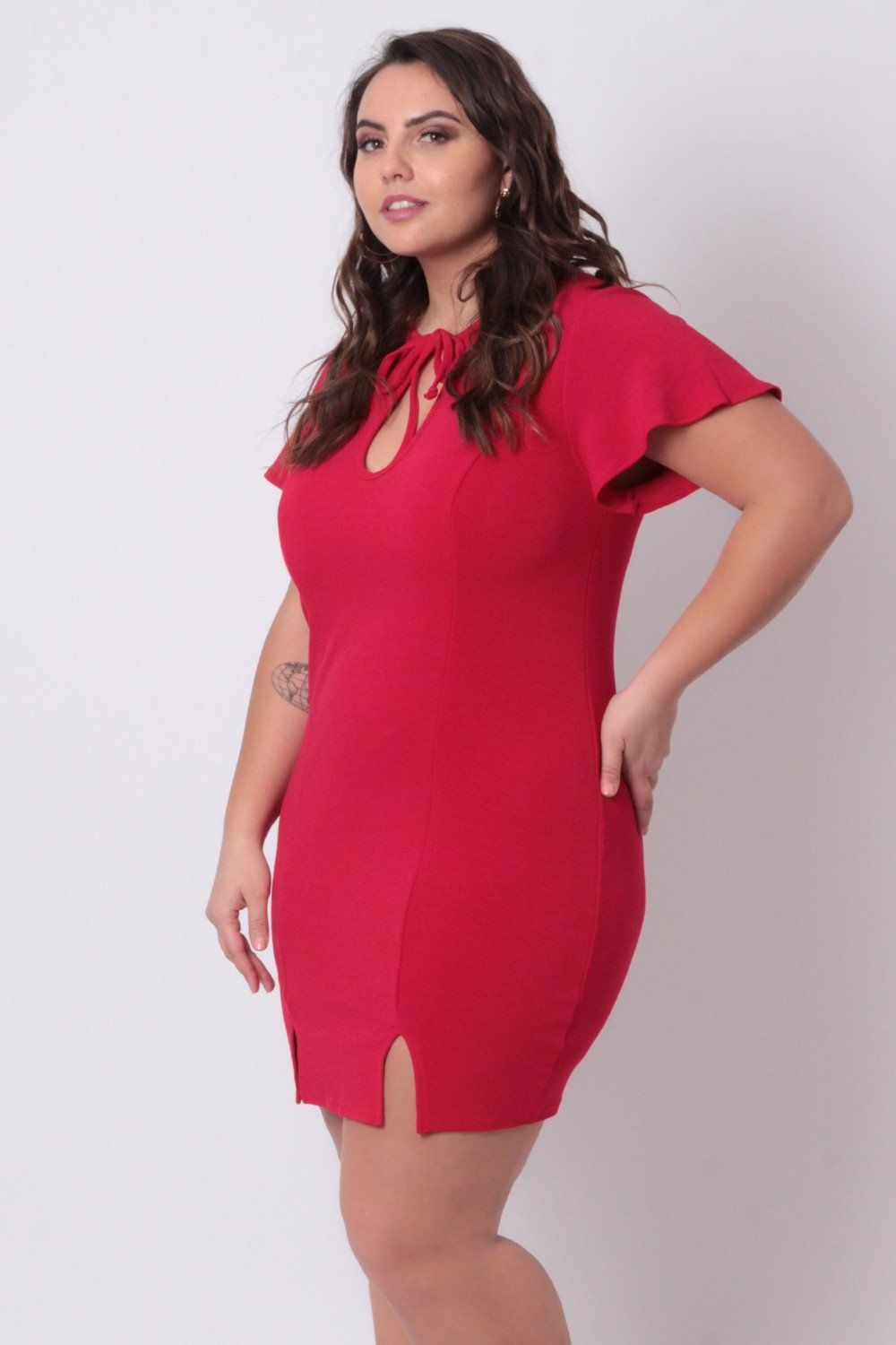 Plus Size Lady In Red Dress - Red | Plus size models, Plus ...