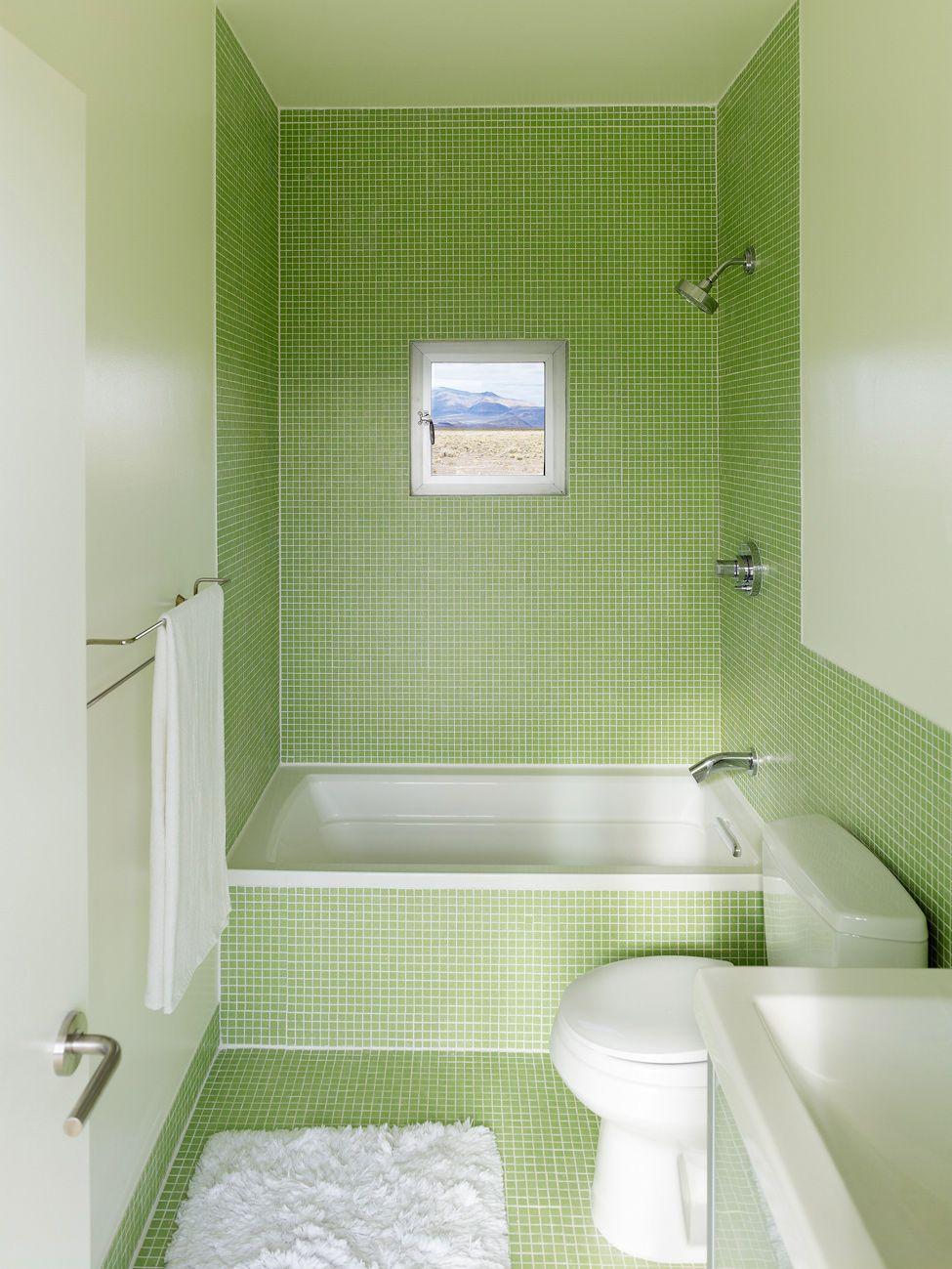 Glamorous Modern Light Green Bathroom with Minimalist White Bathtubs ...