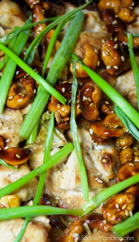 Slow Cooker Quinoa Chicken with Candied Cashews