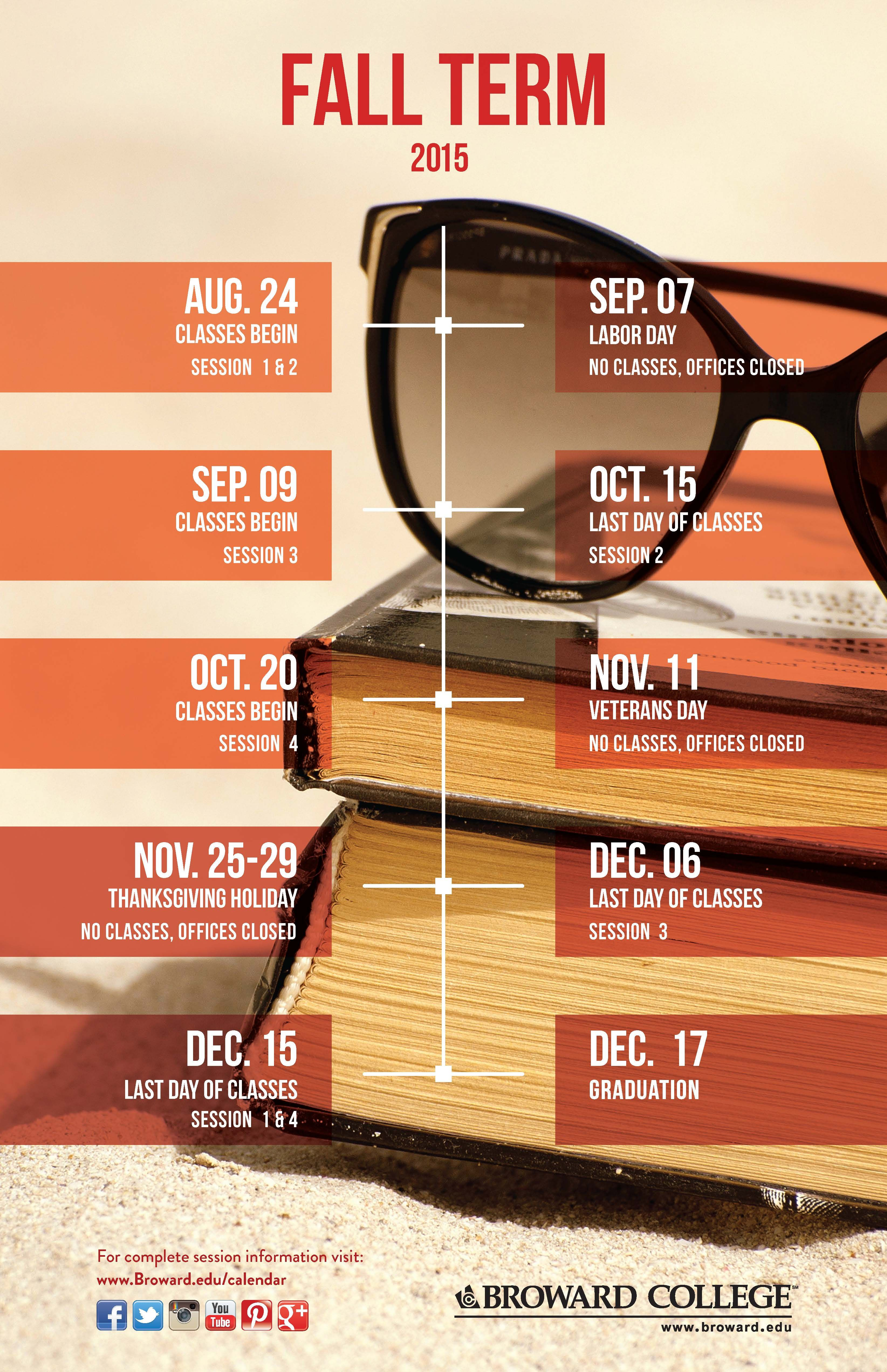 Fall 2015 Important Dates Academic Calendar Exam Schedule
