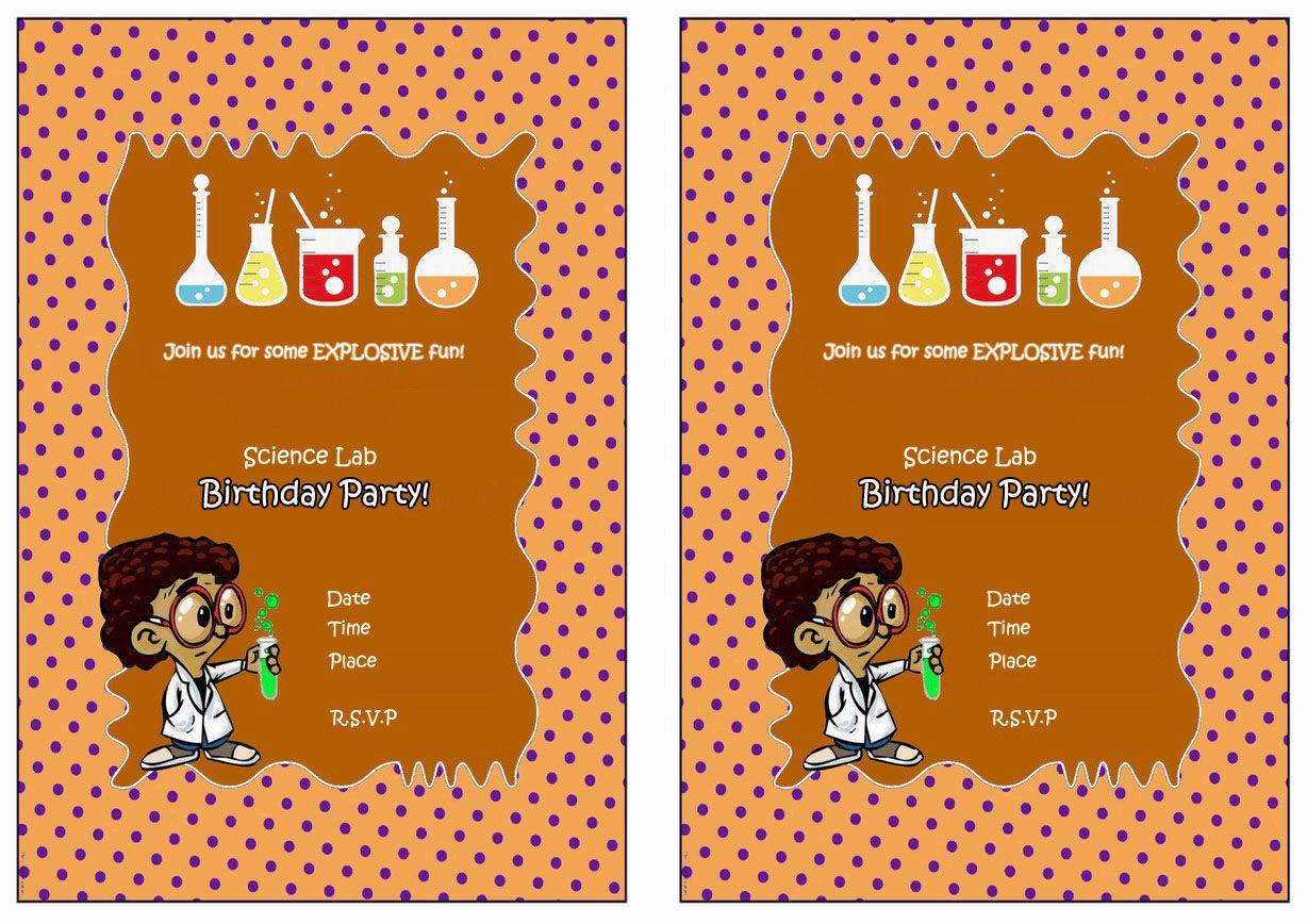 Science Free Printable Birthday Party Invitations Birthday Party
