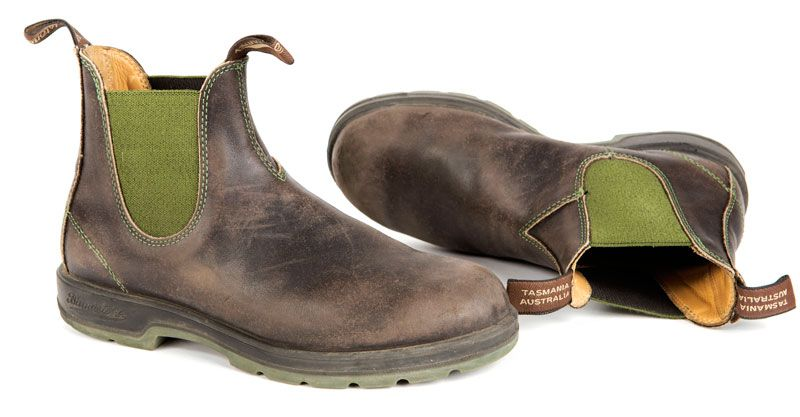 bce79ef7550 Brown Blundstone Boots 1402 Green and Brown with Two Tone Sole ...