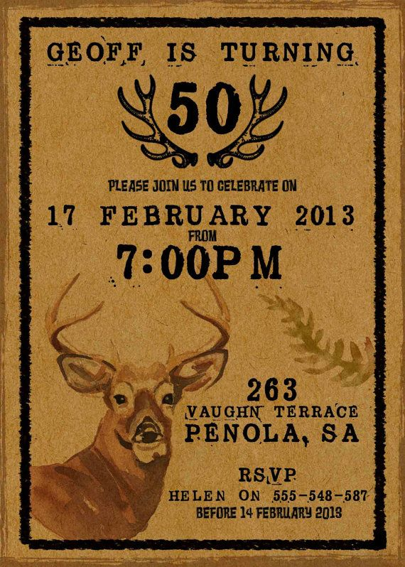 Mens Birthday Party Invitation Rustic Deer By