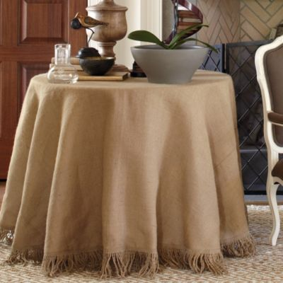 96 inch burlap terrific tablecloth with jute fringe tableware ballard designs