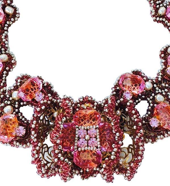 William de Lillo - Collier - Perles à Facette et Façon Nacre et Cristal de Swarovski - 1994