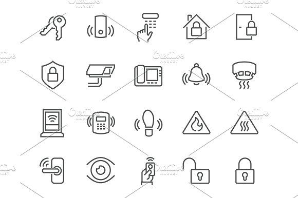 Line Home Security Icons by Davooda on @creativemarket