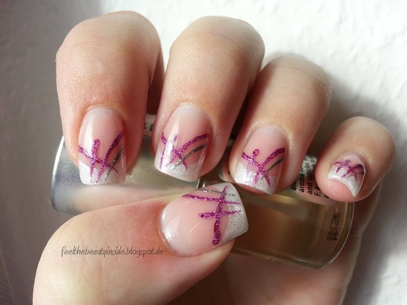 feel the beauty inside nageldesign 08 14 french glitzer wei mit pink sil nails. Black Bedroom Furniture Sets. Home Design Ideas