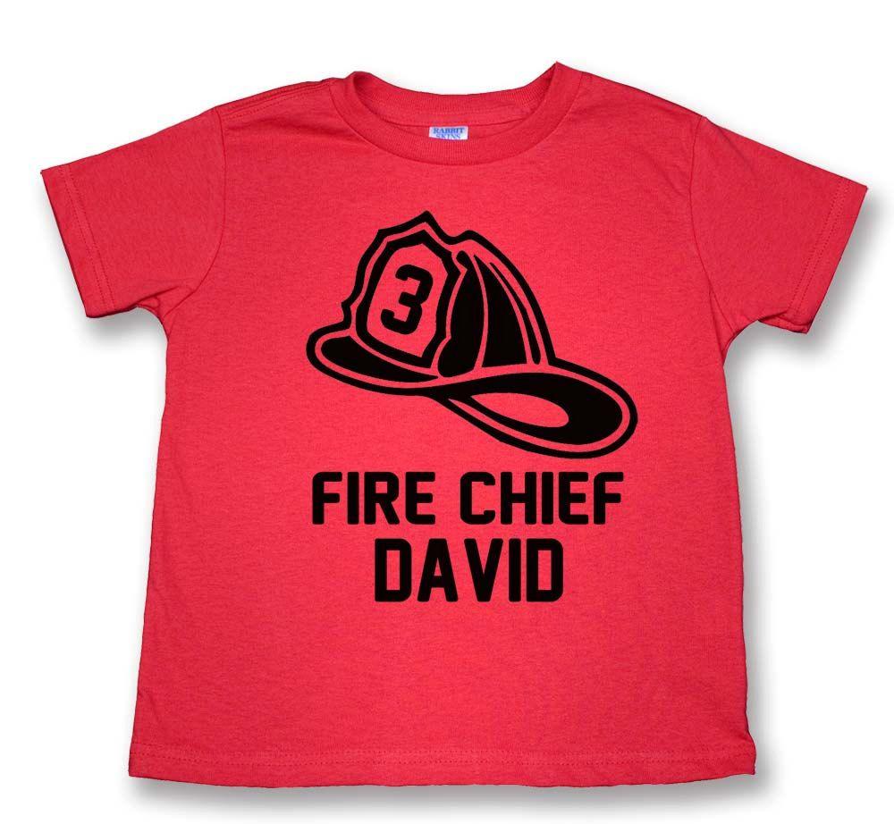 58f942d7 Personalized Fireman Birthday T-Shirt - Personalized Fire Chief T-Shirt -  perfect for fireman birthday party ( Fireman Hat 3 BTT 1183 )