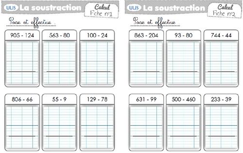 Soustraction avec et sans retenue soustraction - Tables de soustraction a imprimer ...