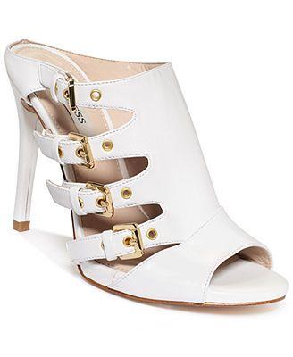 GUESS Women's Clarie Peep Buckle Heel Mules leather white, black 4.25heel sz7.5 89.99 30%off thru 4/20
