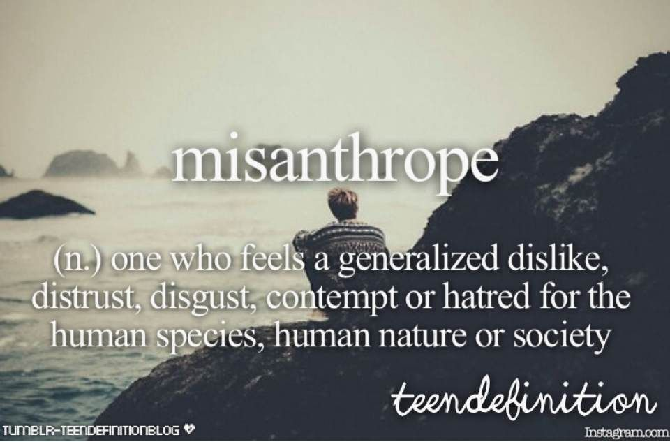 Good Misanthrope: One Who Feels A Generalized Dislike, Distrust, Disgust,  Comtempt Or Hatred