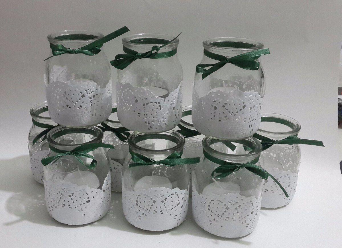 Frascos de vidrio decorados con blondas doilies blondas - Diy frascos decorados ...