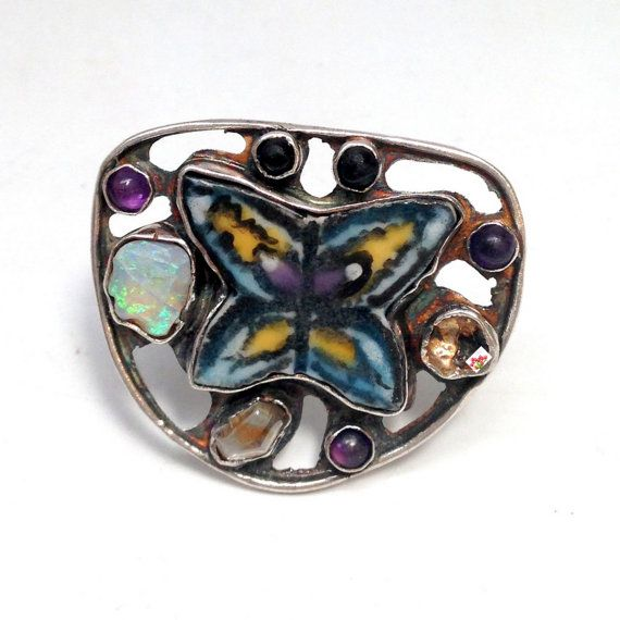 Mosaic Statement Ring with Butterfly and by laurastamperdesigns