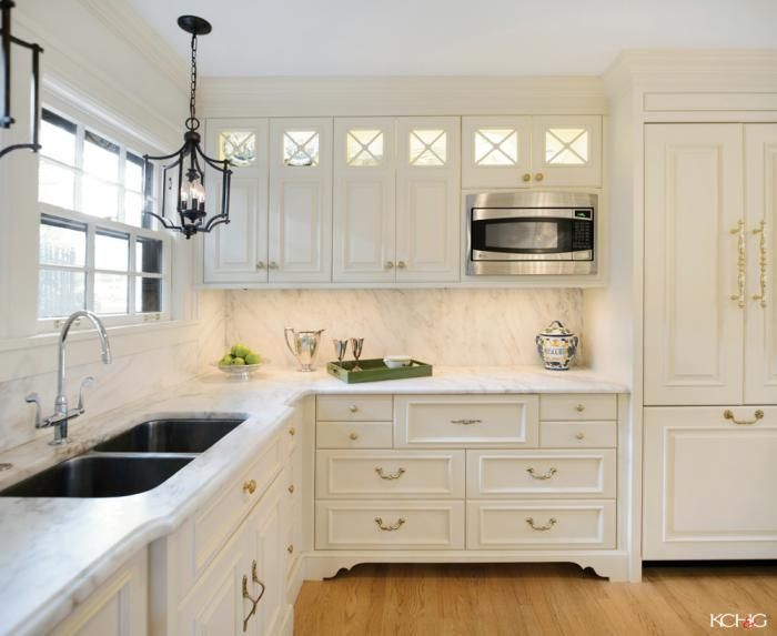 Interesting Mix Og Finishes White Cabinets Brass