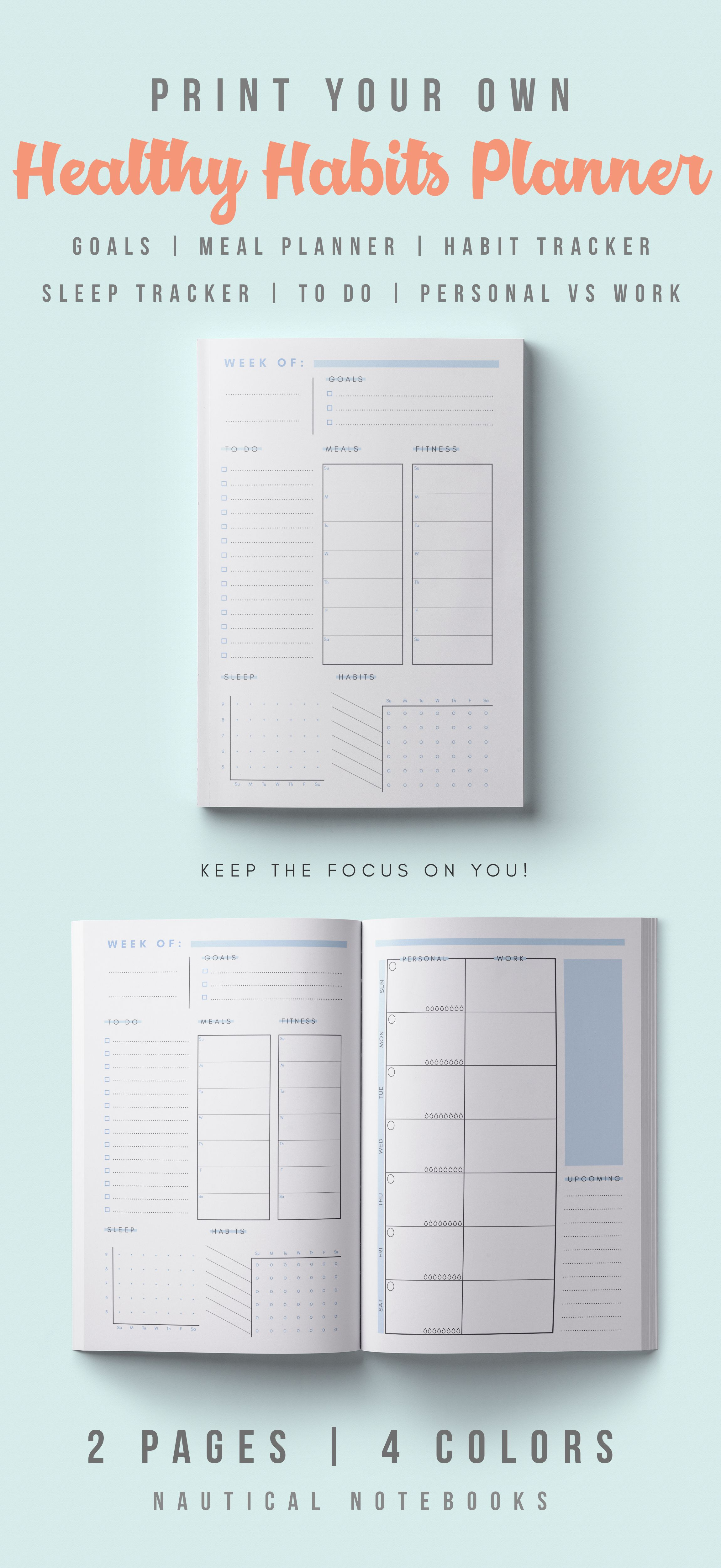 If Youre Looking To Focus On Your Wellness And Too Lazy For Bullet Journals Then This Is Perfect You A Healthy Habits Planner Tracking