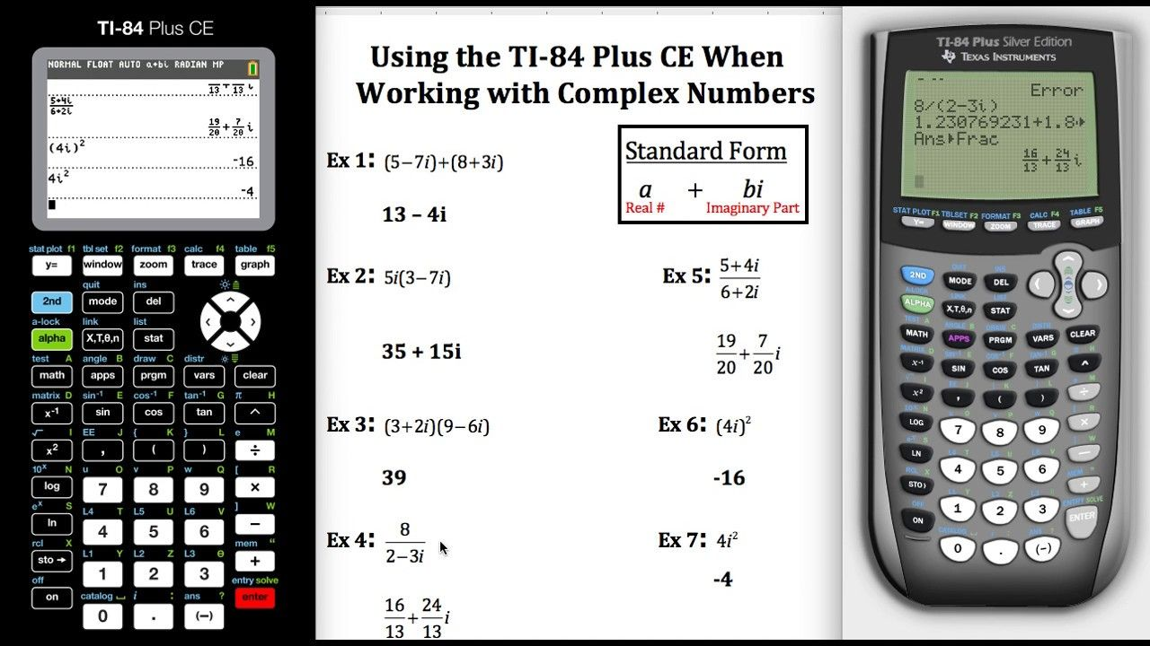 Using The Ti 84 Plus Ce When Working With Complex Numbers Complex Numbers College Algebra Teaching Survival