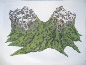 """Untitled (Mountains)gouache on paper22"""" x 30"""", 2005Available"""