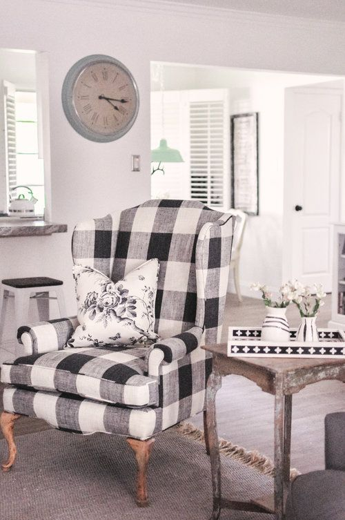 Nov 8 Our Farmhouse Living Room Makeover Buffalo Check Chair