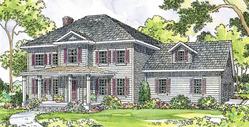 This Country Home Plan Features Four Large Family Areas Downstairs Colonial House Plans Colonial Style Homes Colonial House