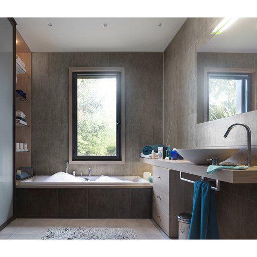Lambris PVC minéral gris XL mate Element GROSFILLEX, L260cm x l - plafond salle de bain pvc