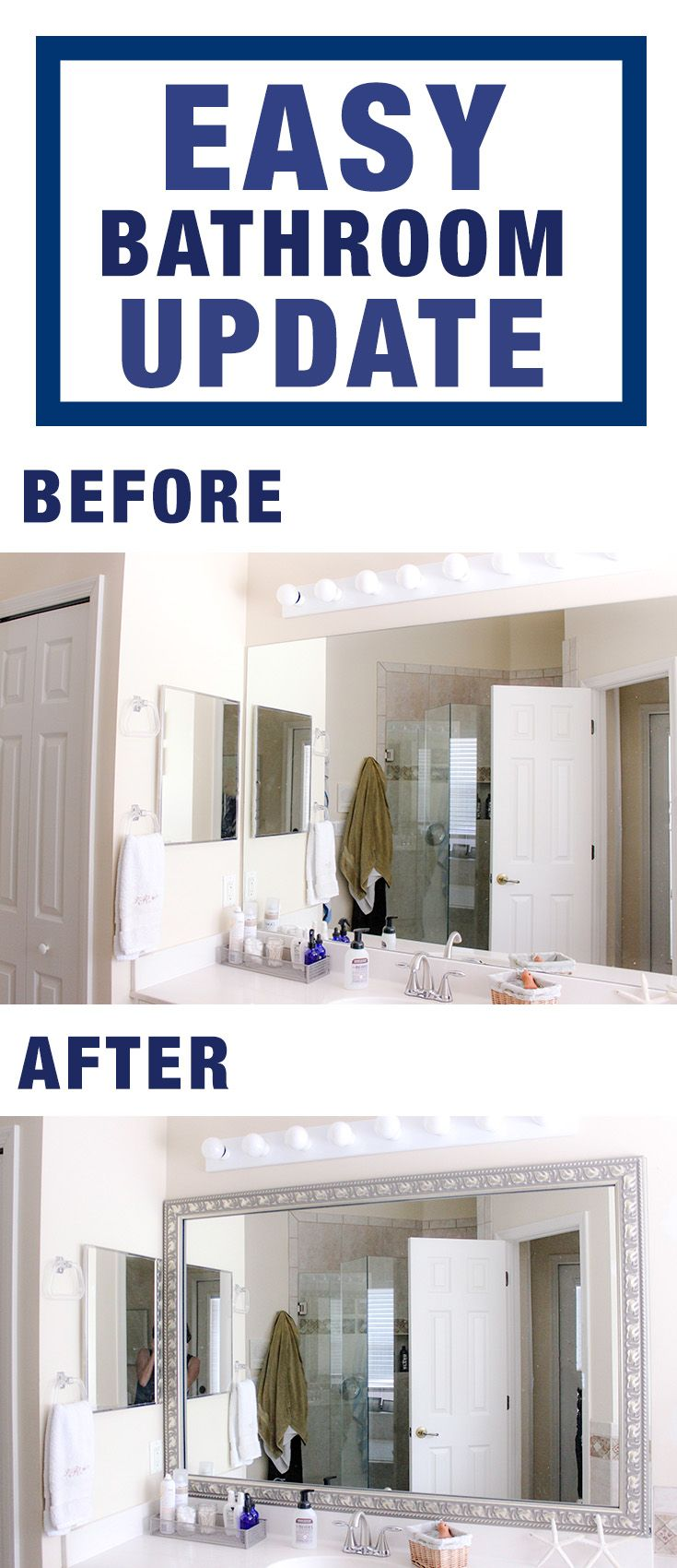 Easy bathroom update with diy mirror frame kit from frame