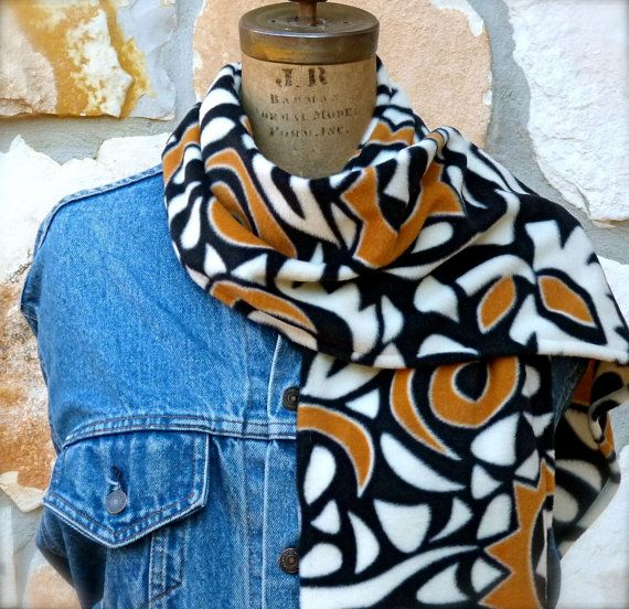 Black Fleece Scarf   Black White and Gold Ladies by ShabbyRanch, $10.85