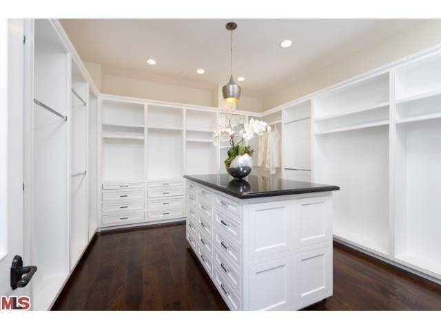 Closet Dark Wood Floors White Paneling Island 1832 Old Orchard Road