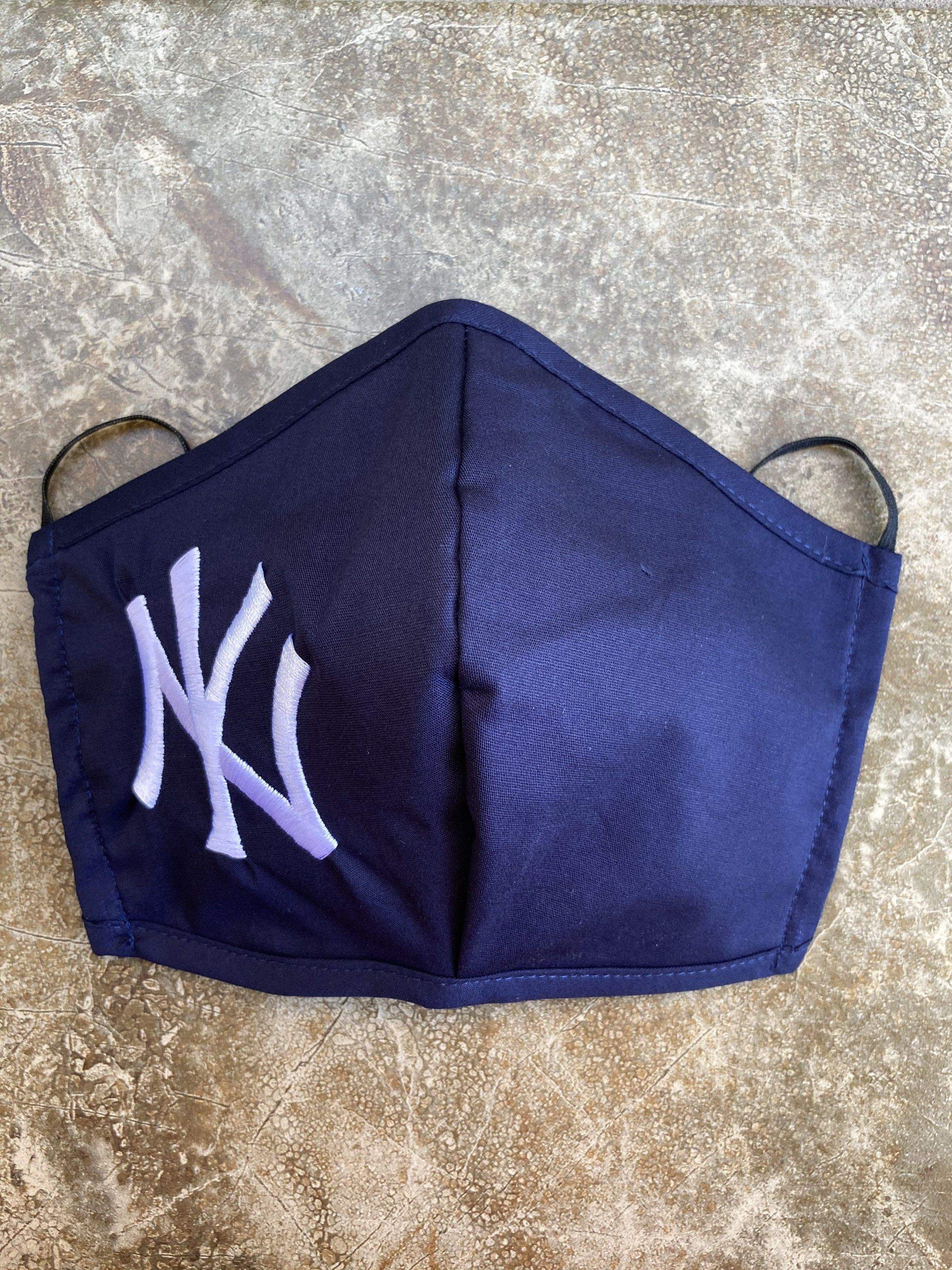 Yankees Face Mask Embroidered Mask Adult Size Fits Most Thin Elastic Handmade In Usa Ready To Ship In 2020 Face Mask Blue Mask Embroidered