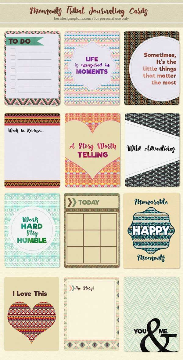 FREE Moments Tribal Journaling Cards by Best Design Options.- [ The download file is password-protected to prevent hot linking under link. ]