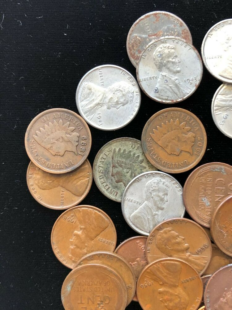 Mixed Lot 3 Indian 7 Steel & 40 Wheat Cents Roll P D S Mint